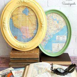 http://www.sadieseasongoods.com/round-trip-oval-framed-vintage-road-maps/
