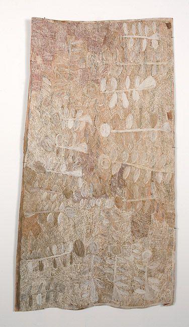 Nyapanyapa Yunupingu 5. Untitled, 2013 natural earth pigments on bark 168 × 95cm