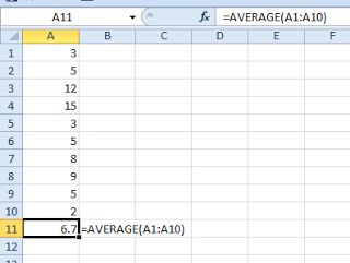 how to create average function in excel