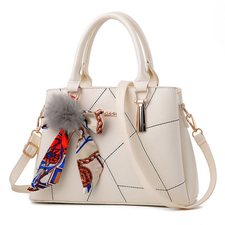 Hot PU Leather Women Handbags Brand Office Lady Fur Ball Tote Bags Top-Handle Bag Patchwork Thread Criss Cross Shoulder Bags