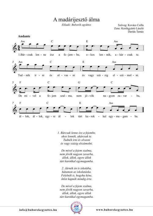 Buborék együttes: A madárijesztő álma gyermekdal kottája és dalszövege