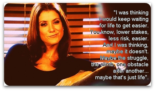 """I was thinking I would keep waiting for life to get easier. You know, lower stakes, less risk, easier. And I was thinking, maybe it doesn't. Maybe the struggle, the climb, one obstacle after another... maybe that's just life""  - Addison Montgomery; Private Practice, Season 5, Episode 15"