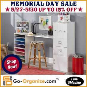 High-Quality #Organization & #Storage for your favorite #crafting tools and supplies is ON SALE NOW! Save up to 15% on a variety of #craftroom #furnishings through Memorial Day 2016! And as always, the shipping is FREE!!! Click Here to SAVE: http://www.go-organize.com/?utm_source=ROS_Memorial16&utm_medium=292banner&utm_campaign=PCC