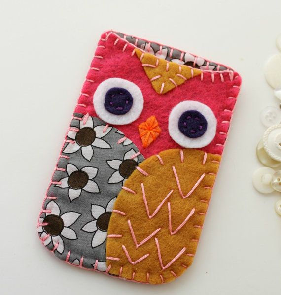 Felt Owl Phone Case Cozy iPhone - I should compare my new phone's measurements against the iPhone and see how much I'd have to tweak this