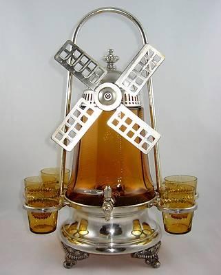 20's Cambridge Paden City Deco Amber Windmill Samovar Cups Silver Plate Stand | eBay