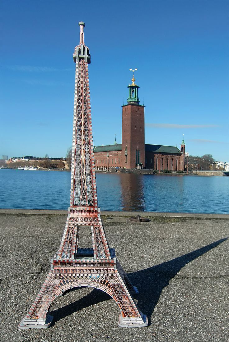 Wrebbit 3D Eiffel 3D puzzle looking at the Stockholm City Hall from across the Riddarfjärden bay in Stockholm, Sweden. Photo credit: Tactic Sverige AB #Eiffel125