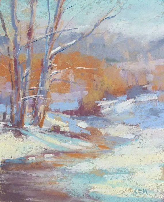 winter snow landscape original pastel painting 8x10 by