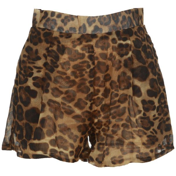 Brown Leopard Animal Print Shorts With Pockets ❤ liked on Polyvore