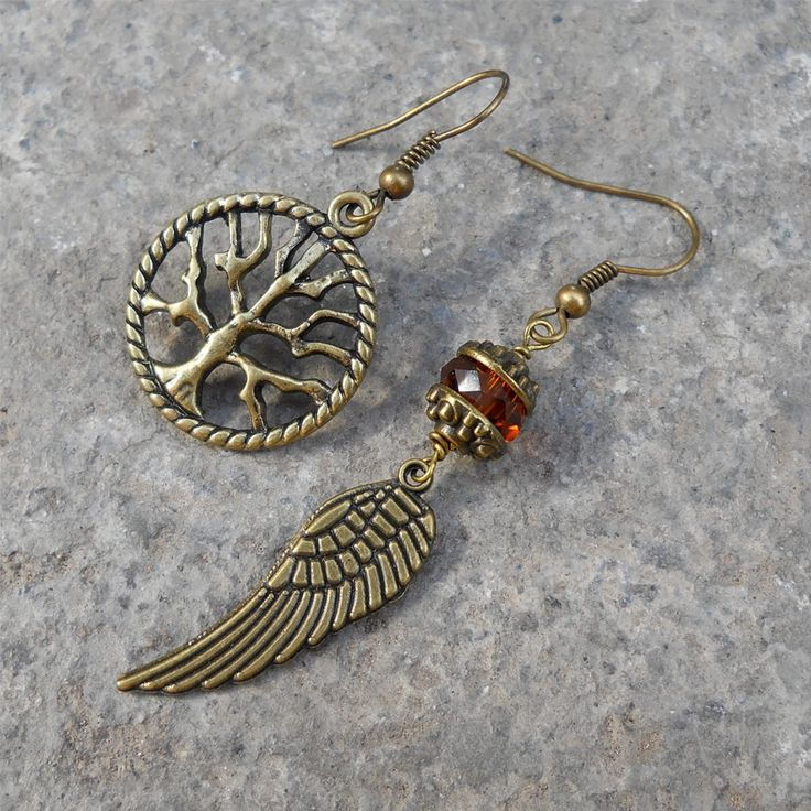 Tree of life and feather mismatched earrings, topaz color