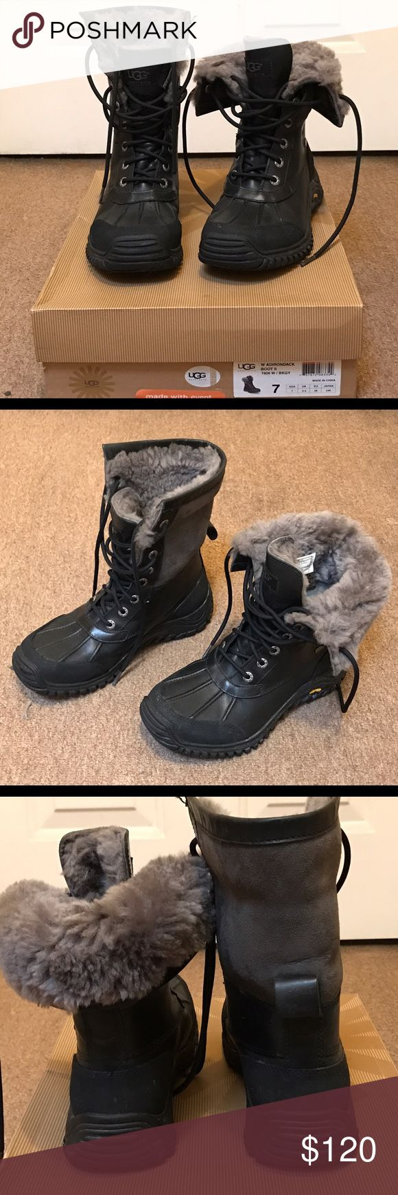 UGG- Adirondack Boot II- Black w/Gray- Sz 7 WMS Boots in GREAT condition! Not a fan of this style so not worn often. Traction on bottom in great condition as well. UGG Shoes Winter & Rain Boots