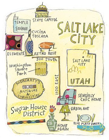 Fun round-up from Country Living of unique shopping and dining spots in Salt Lake City, Utah, with this cute illustrated map