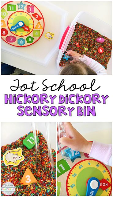 This Hickory Dickory Dock Sensory Bin was so fun to explore and use for retelling during our Nursery Rhyme theme. Perfect for tot school, preschool, or the kindergarten classroom.