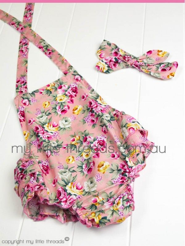 Floral Playsuit with matching headband - Pink