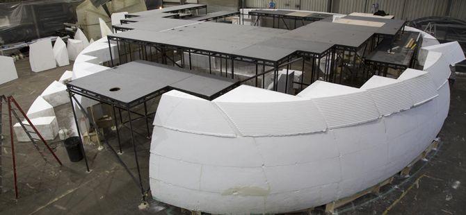 Under construction in our workshops, Smiljan Radic's 2014 Serpentine Gallery pavilion.