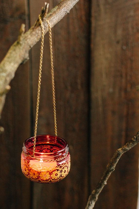 Gypsy moroccan bohemian wedding, hanging jar lantern, hand painted red glass jar, lantern with wire, jar candleholder, boho wedding favors