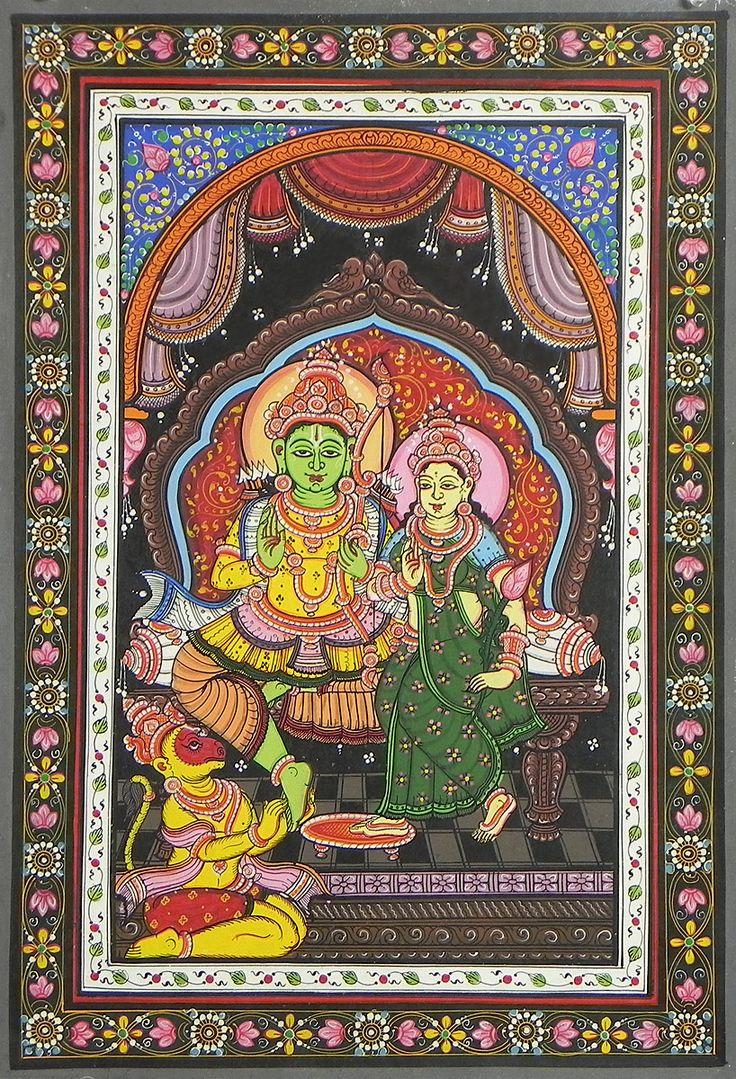 Lord Rama, Sita and Hanuman (Orissa Pata Painting on Patti - Unframed)