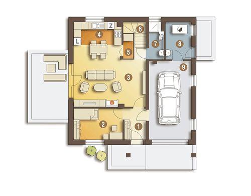Nowinka III - optymalny projekt domu dla 4-5 osobowej rodziny. Tani w realizacji i ekonomiczny w eksploatacji. Zapraszam do zapoznania się z projektem. Rzut parteru.