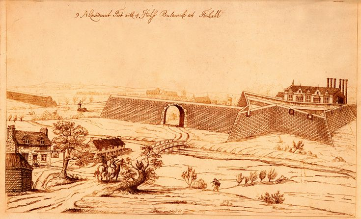 The fort at Vauxhall, erected for the defence of London during the English Civil War of the 1640s.     'Vaux Hall' manor house is seen on the right, and the river Effra is seen joining the Thames in the foreground. Westminster Abbey and Lambeth Palace can be seen beyond the wall in the centre.