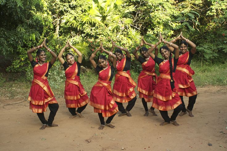 Students from the village in Auroville, South India