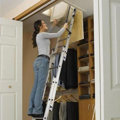 Compact Aluminum Attic Ladder With 250 Lb. Maximum Load Capacity, At The Home  Depot   Tablet