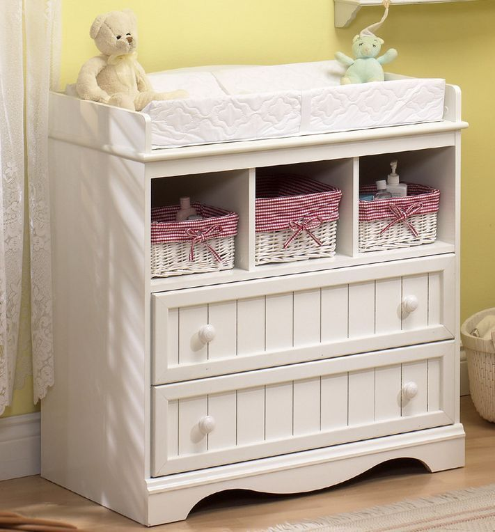 Changing Table Dresser Nursery Furniture White Baby Pad Station South Shore