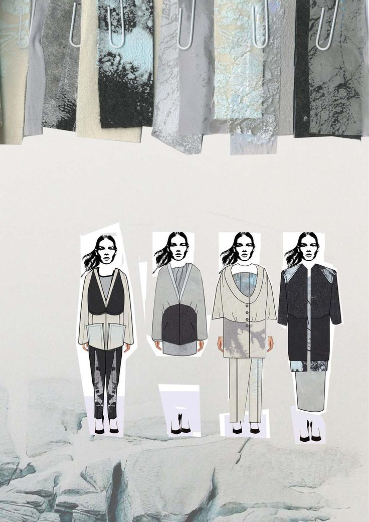 Fashion Sketchbook layout - fashion illustrations & textile swatches; fashion design portfolio // Chloe Bayles