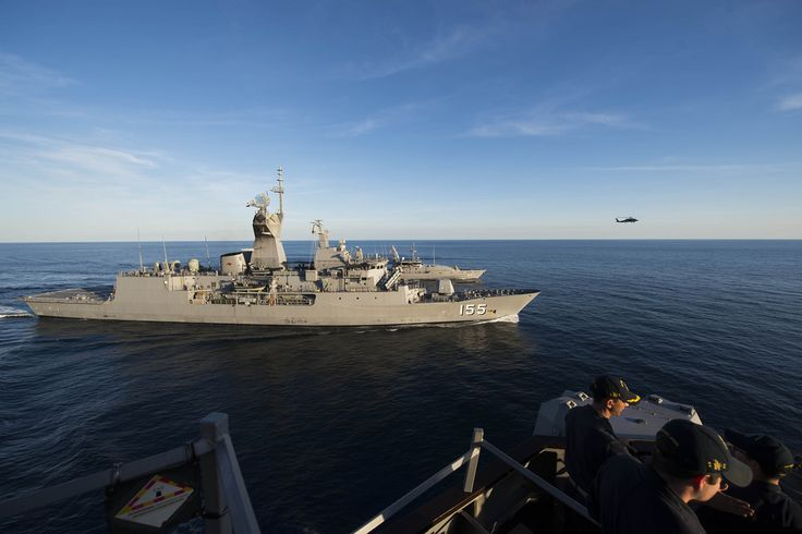INDIAN OCEAN (June 26, 2017) The Arleigh Burke-class guided-missile destroyer USS McCain (DDG 56) conducts Division Tactics (DIVTACS) exercises with the Royal Australian Navy Anzac-class frigate HMAS Ballart (FFH 155) and the Armidale class patrol boat HMAS Bathurst (ACPB 85). McCain is on patrol in the Indian Ocean in support of security and stability in the Indo-Asia-Pacific region. (U.S. Navy photo by Mass Communication Specialist 3rd Class Joshua Mortensen/Released)