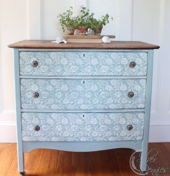 A wonderful Before & After post of a stenciled dresser finished in Duck Egg Blue & Old White Chalk Paint® decorative paint by Annie Sloan | By Finding Silver Pennies