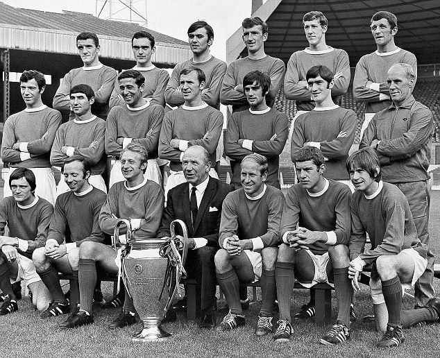 The Manchester United team with the 1968 European Cup