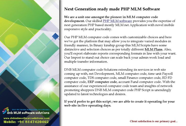 Dmlm0012 next generation readymade php mlm software 2016 03 14  In multi-level selling business there are various MLM business plans or pyramid schemes to sell products and services. Matrix plan which is also known as Forced Matrix MLM Plan or Ladder Plan is one of such MLM business plan. In Matrix plan the MLM tree or genealogy is organized in a pyramid pattern which has fixed width and depth. Example: 2X2 matrix or 3X5 matrix. This plans are very popular USA, UK, DUBAI, SINGAPORE, ITALY…