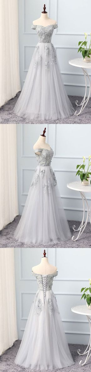 Gray A line tulle lace long prom dress, lace evening dress – trendty