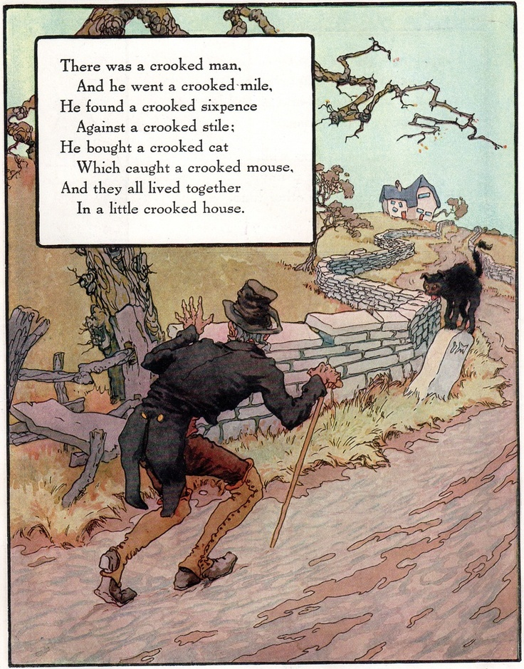 There was a crooked man, and he walked a crooked mile. He found a crooked sixpence upon a crooked stile. He bought a crooked cat, which caught a crooked mouse, And they all lived together in a little crooked house. Artist Frederick Richardson