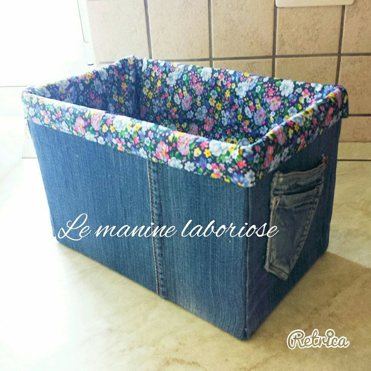 Riciclo creativo - Scatola di cartone rivestita con jeans e stoffa a fiori