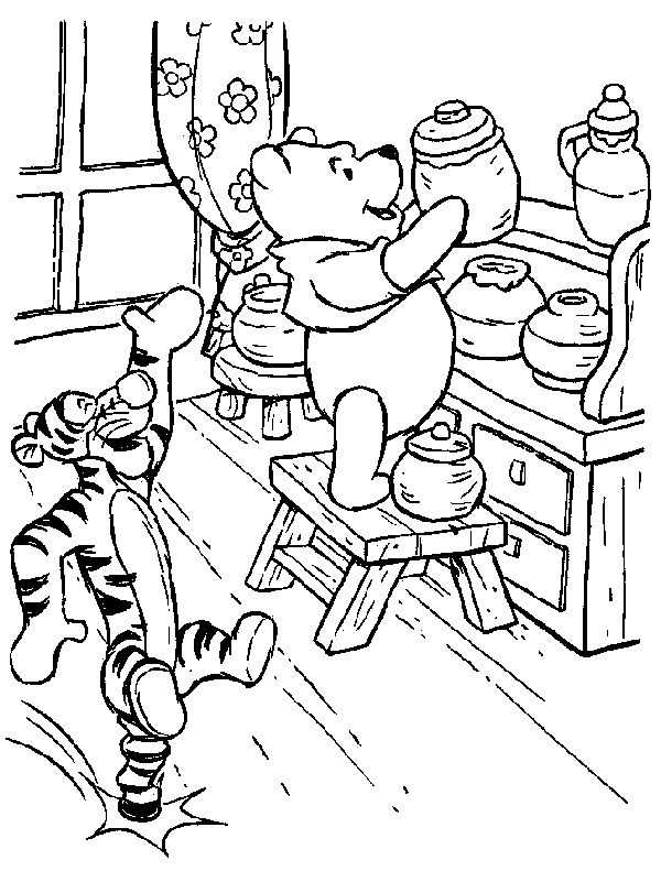 hard coloring pages winnie the pooh with tigger coloring page coloring free printable the - Pooh Bear Coloring Pages Birthday