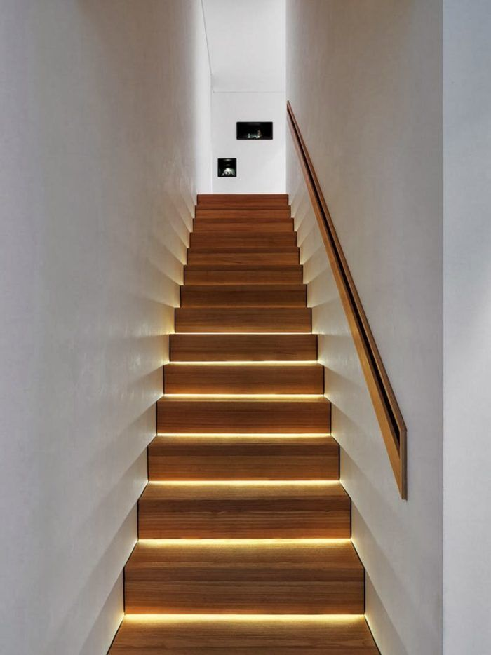 This LED strip lighting is a perfect way to illuminate the stairs without harsh overhead lighting.