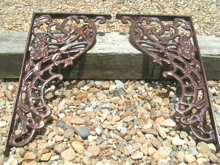 2 Large Cast Iron Brackets Corbels Indoor Outdoor NO holes