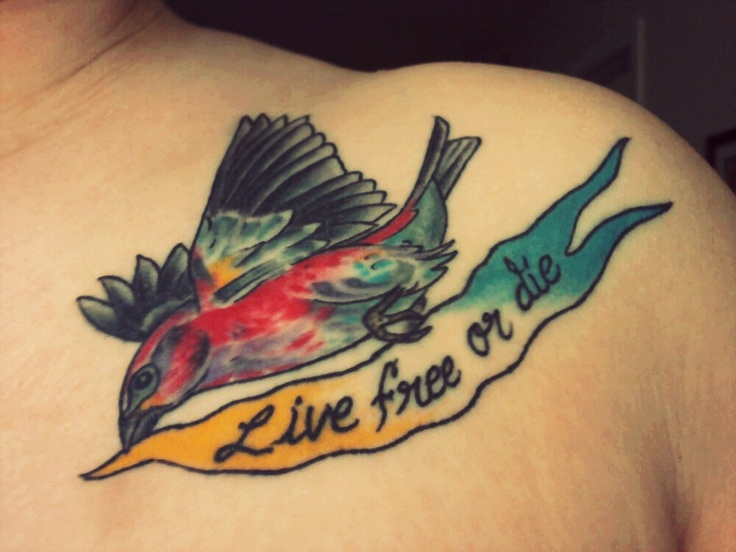 My new hampshire tattoo it 39 s a purple finch the nh for New hampshire tattoos