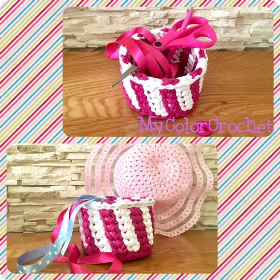 Pink and White Storage Basket Crochet