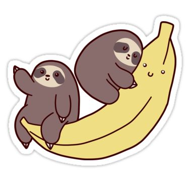 """Sloths and Giant Banana"" Stickers by SaradaBoru 