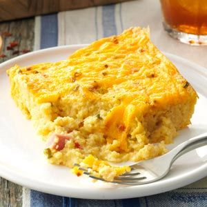 Ham & Cheese Grits Casserole-fantastic! Added 1/3can of diced green chilies since I didn't use the SW eggs).  A low fat recipe too (as low fat as u can get with grits).