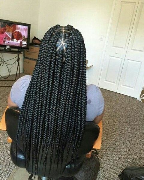 Jumbo triangle box braids #_boxbraids