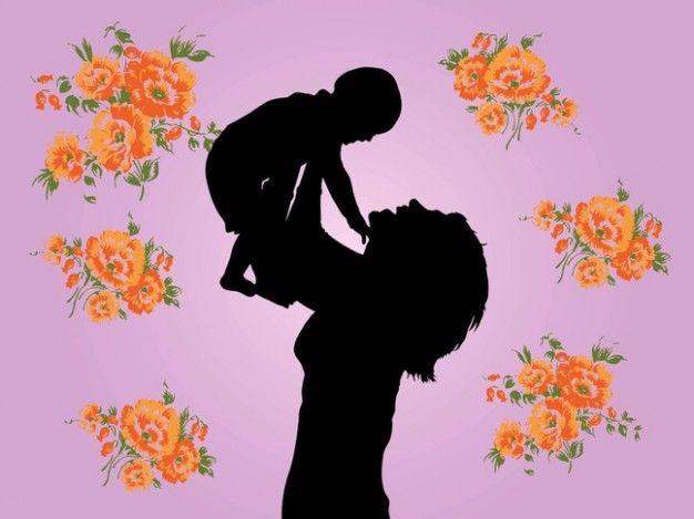 Mãe e filho gráficos vetoriais floral Vetor grátis