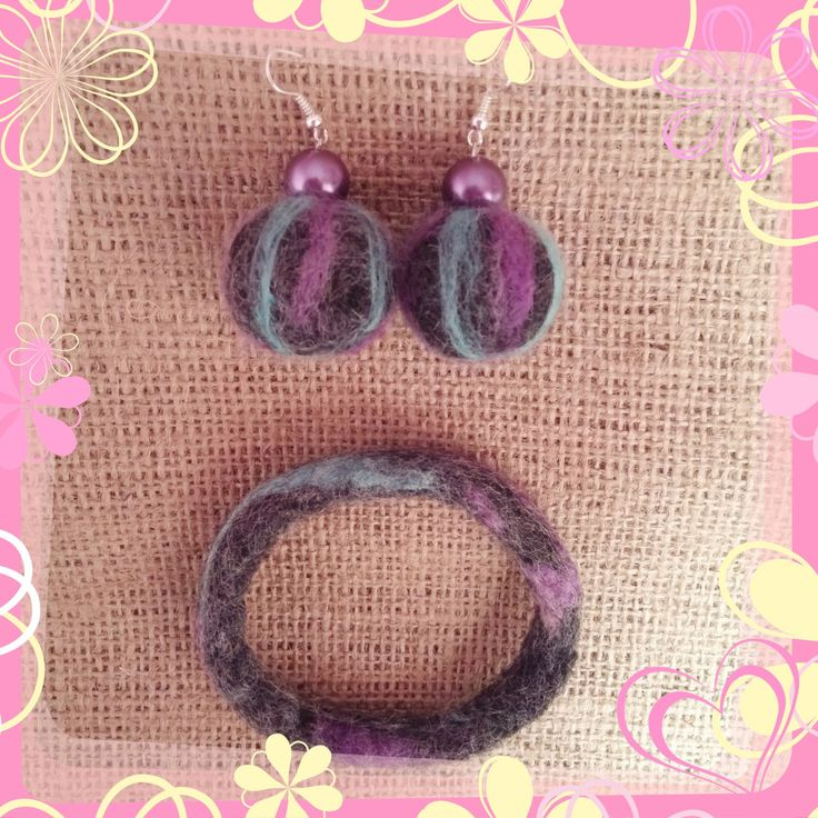 A beautiful needle felted set (earrings and bracelet) by HappyFeltingHour on Etsy