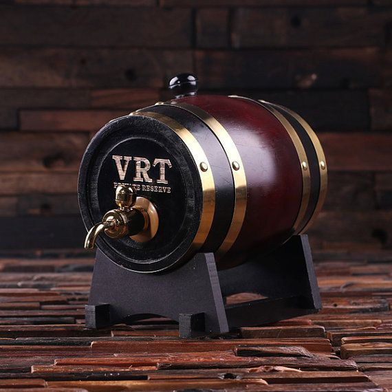 Raise a toast and roll out the good times at your next big event with a professionally crafted whiskey barrel that makes aging alcohol an art form. Fashioned from varying woods in a traditional way, this piece of rustic Americana makes an ideal gift for the groomsman, whiskey connoisseur or barware enthusiast in your life. Cheers!  We do not charge for custom artwork service, we can engrave anything. *1.5 Liter Capacity * Barrels are lined and waterproof and do not influence flavors…
