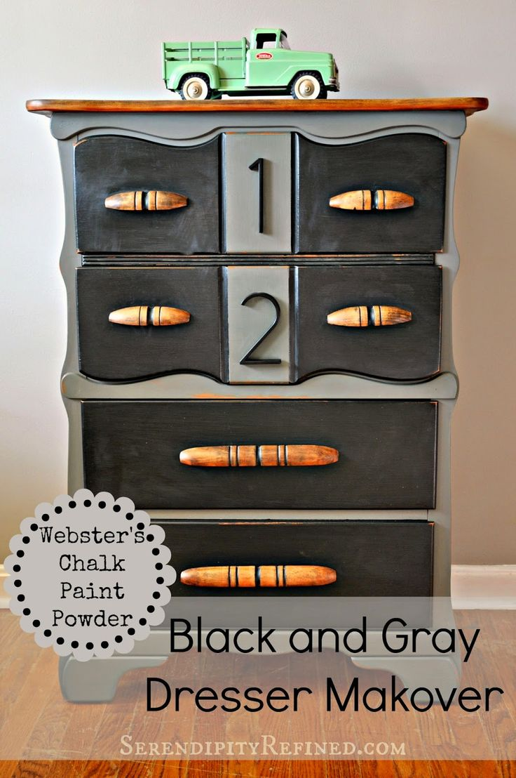 How to use Webster's Chalk Paint Powder. What is Webster's Chalk Paint PowderBlack and Gray Painted Dresser