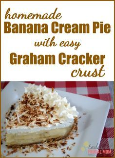 If you are looking for a delicious banana cream pie recipe, look no further. This easy homemade banana cream pie recipe with graham cracker crust is sure to be a delight on your palette! :: TodaysFrugalMom.com