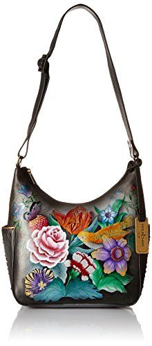 Anuschka Hand Painted Classic Hobo with Studded Side Pockets, Vintage Bouquet Classic hobo with studded side pockets-top zip entry. Inner zip pocket, cell and multipurpose pockets, key holder. Rear zippered pocket. Two open, deep side pockets. Adjustable shoulder strap with 10 inch-17 inch  handle drop. 9 inch x 8.25 inch x 4.75 inchHand-painted leather bag in hobo silhouette featuring side pockets, adjustable shoulder strap, and logoed fob