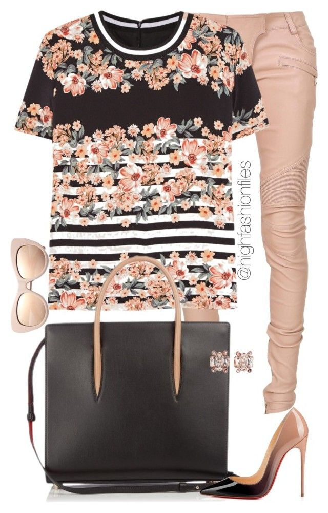 Floral x Stripes by highfashionfiles on Polyvore featuring polyvore fashion style Mother of Pearl Balmain Christian Louboutin Dsquared2 STELLA McCARTNEY clothing