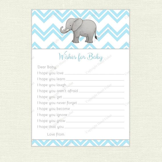 Elephant Wishes for Baby Card, printable baby shower, blue baby boy - Instant Download - hfcSupplies Etsy