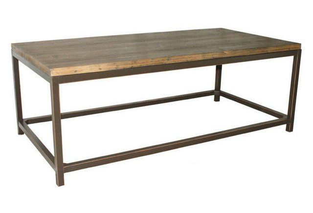 Love the look of this table, but would rather DIY! Weld square tube to make frame and stain your own tabletop with materials found at Home Depot/Lowes.